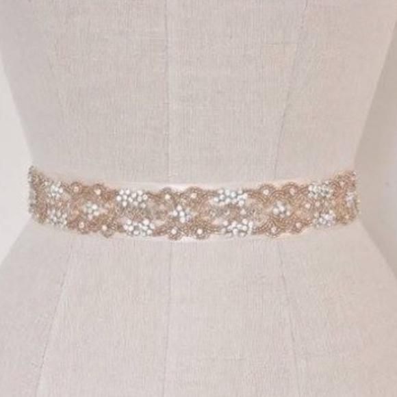Rose gold beaded bridal sash